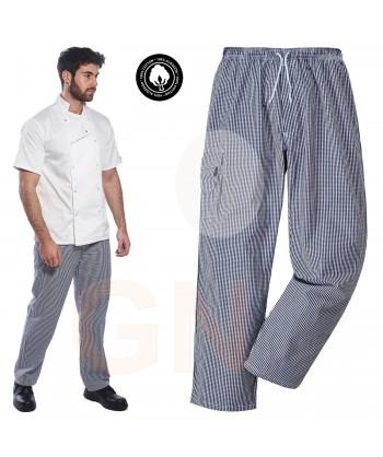 Pantalón de cocina de algodón de cuadritos azules