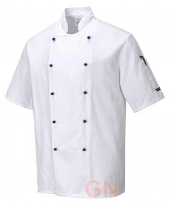 Chaqueta unisex de cocina de manga corta con cierre de botones chupete color blanco