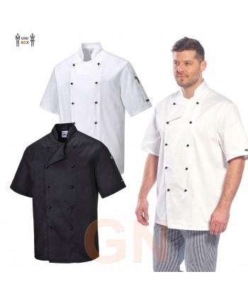 Chaqueta unisex de cocina de manga corta con cierre de botones chupete