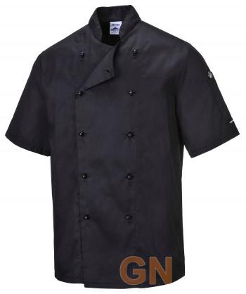 Chaqueta unisex de cocina de manga corta con cierre de botones chupete color negro