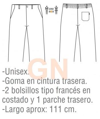 Pantalón unisex con bragueta para cocina tejido a cuadros grises