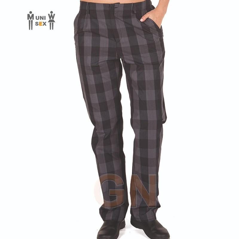 Pantalón unisex para cocina tejido a cuadros negros/grises