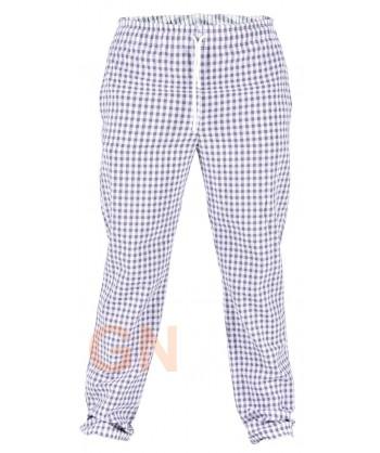 Pantalón unisex de cocina de vichy cuadritos grises
