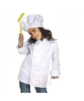 Gorro chef champiñón infantil color blanco a juego con chaqueta