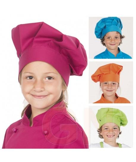 Gorro chef champiñón infantil color frambuesa a juego con chaqueta