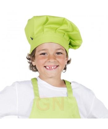 Gorro chef champiñón infantil color pistacho a juego con chaqueta