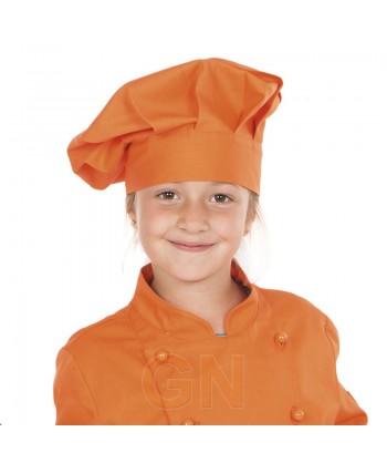 Gorro chef champiñón infantil color naranja a juego con chaqueta