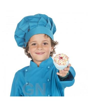 Gorro chef champiñón infantil color turquesa a juego con chaqueta