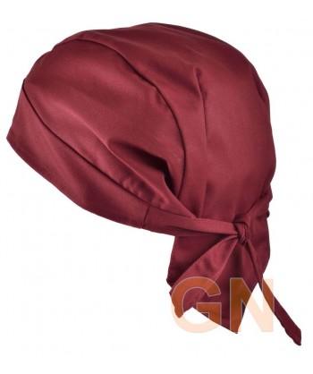 Gorro bandana de cocina color granate