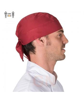 Gorro unisex tipo bandana o pirata para cocinacolor burdeos