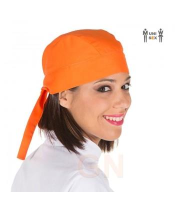 Gorro unisex tipo bandana o pirata para cocina color naranja