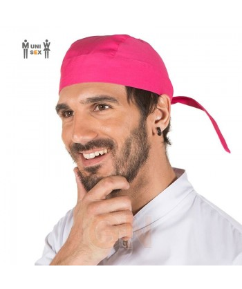 Gorro unisex tipo bandana o pirata para cocina color fucsia