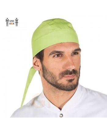 Gorro unisex tipo bandana o pirata para cocina color pistacho