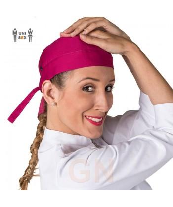 Gorro unisex tipo bandana o pirata para cocina color frambuesa