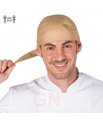 Gorro unisex tipo bandana o pirata para cocina color beige