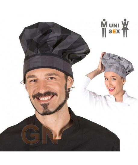 Gorro champiñón cuadros grises y cuadros negros