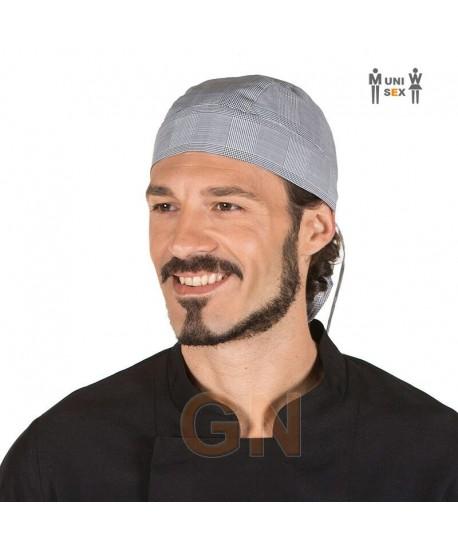 Gorro bandana de cocina de vichy a cuadritos