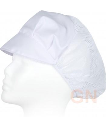 Cofia recoge pelo con visera y rejilla color blanca