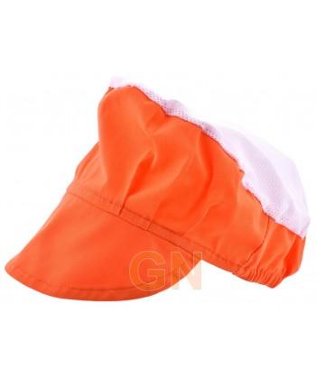 Cofia recoge pelo con visera y rejilla color naranja
