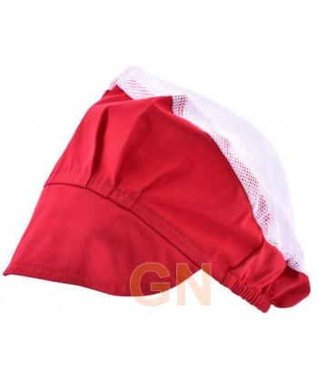 Cofia recoge pelo con visera y rejilla color rojo