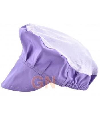 Cofia recoge pelo con visera y rejilla color violeta