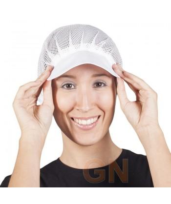 Cofia recoge pelo color blanca con rejilla y visera