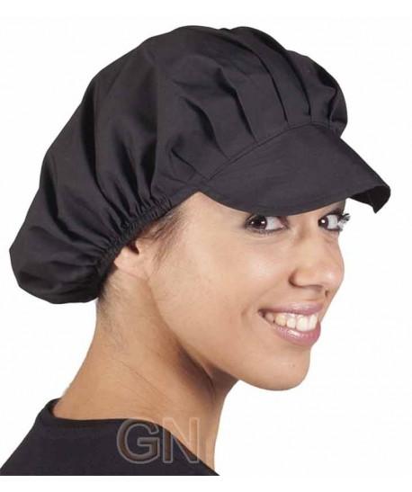 Cofia recoge pelo con visera para cocina. Color negra