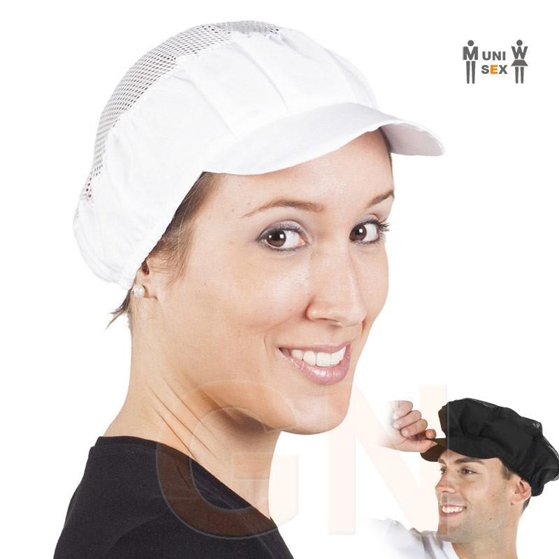 Gorro unisex con rejilla rígida y popelín para alimentación color blanco