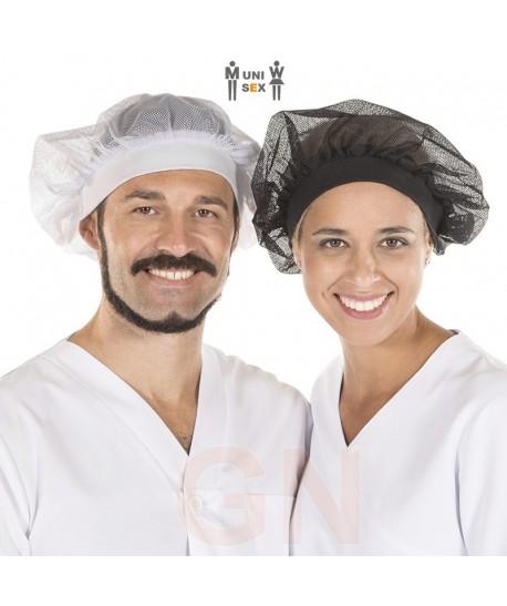 Gorro unisex recoge pelo de rejilla y tejido canalé, colores blanco y negro