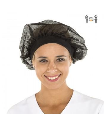 Gorro unisex recoge pelo de rejilla y tejido canalé, color negro