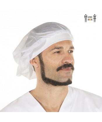 Gorro unisex recoge pelo de rejilla y tejido canalé, color blanco
