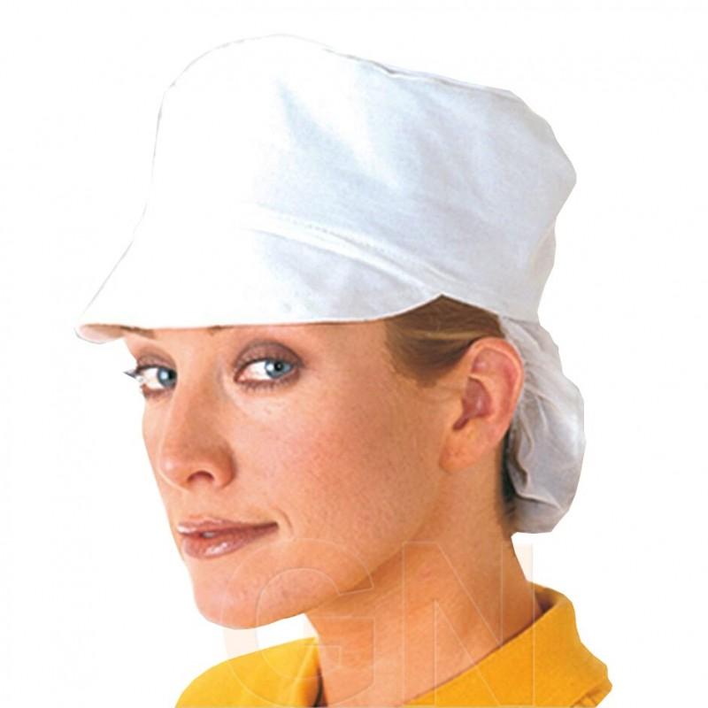 Gorro de mujer de tela y rejilla con visera y cubrenucas todo blanco