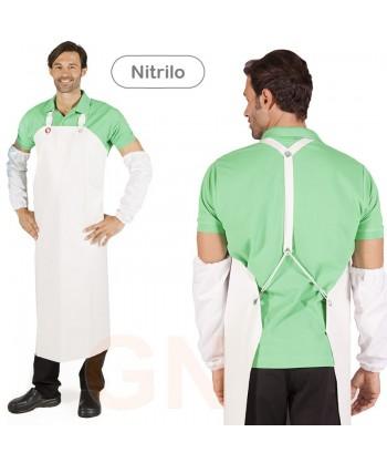 Delantal largo con peto de nitrilo blanco para cocina