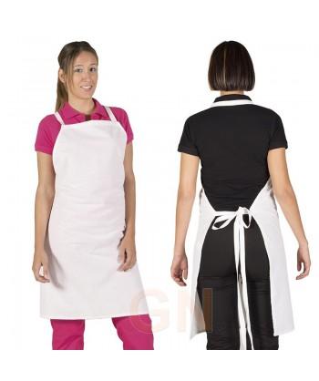 Delantal con peto largo de rizo para cocinas 90 x 75 cm.