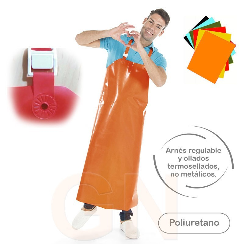 Delantal con peto largo y pesado de PU color naranja