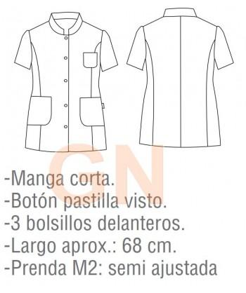Chaqueta de hostelería para mujer cuello mao y manga corta color blanco