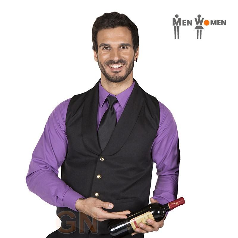 Chaleco liso con cuello smoking de camarero color negro