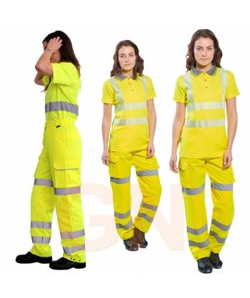 Pantalón alta visibilidad para mujer amarillo flúor