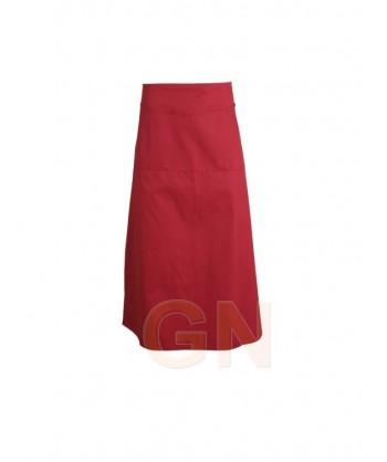 Delantal francés largo con tres bolsillos delanteros rojo