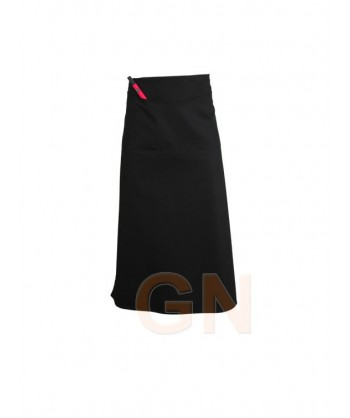 Delantal francés largo con tres bolsillos delanteros negro