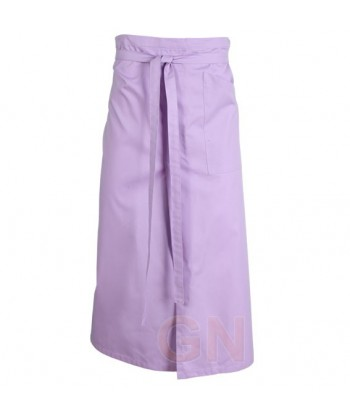 Delantal francés extra largo y abierto. Con un bolsillo delanteros color lila