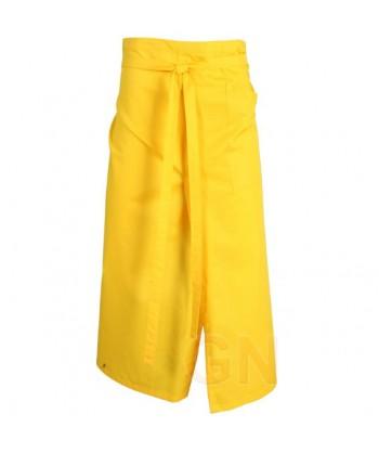 Delantal francés extra largo y abierto. Con un bolsillo delanteros color amarillo