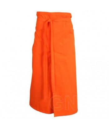 Delantal francés extra largo y abierto. Con un bolsillo delanteros color naranja