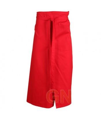 Delantal francés extra largo y abierto. Con un bolsillo delanteros color rojo