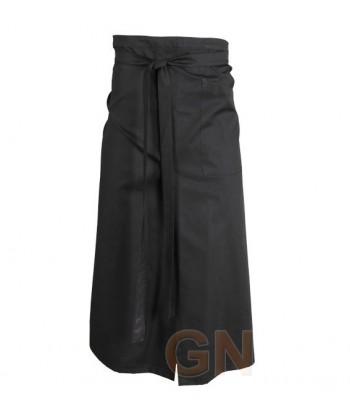 Delantal francés extra largo de poliéster, con abertura y un bolsillo color negro