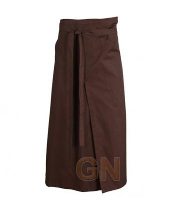 Delantal francés extra largo de poliéster, con abertura y un bolsillo color marrón