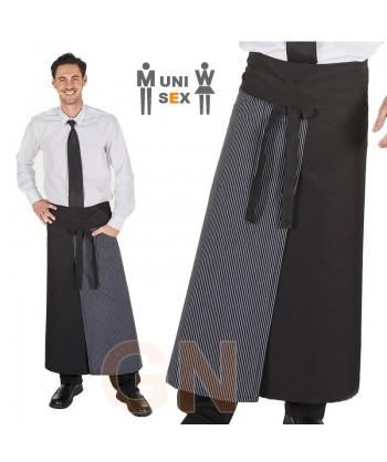 Delantal francés extra largo de poliéster, con abertura y un bolsillo