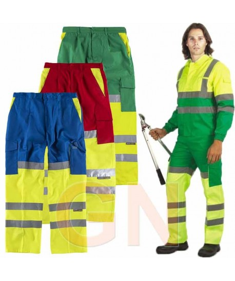 Pantalón bicolor con refuerzos en alta visibilidad
