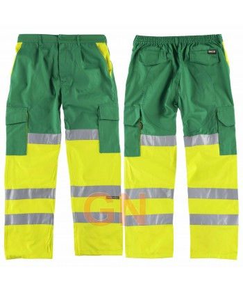 Pantalón bicolor con refuerzos en alta visibilidad verde/amarillo flúor