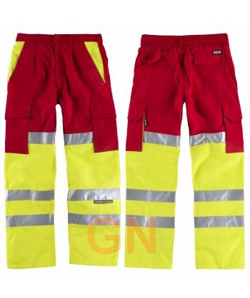 Pantalón bicolor con refuerzos en alta visibilidad rojo/amarillo flúor